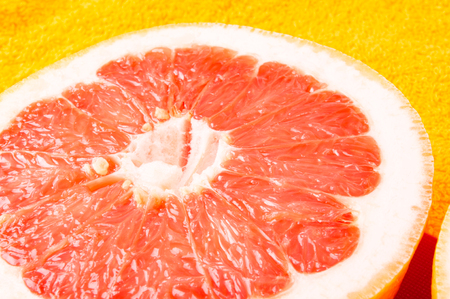 macro   photo: halves of the grapefruit, closeup, macro photo Stock Photo
