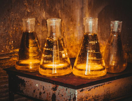 reagents: flasks with reagents in the test laboratory, FILTERED for retro effect