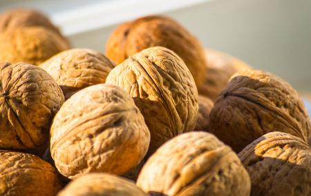 circassian: Circassian walnuts in the white plate, closeup Stock Photo