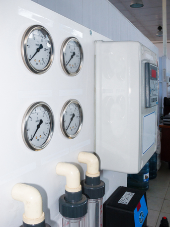 is based: installation of industrial membrane devices water treatment based on reverse osmosis system, control panel