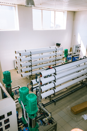 is based: installation of industrial membrane devices water treatment based on reverse osmosis system Stock Photo