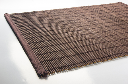 brown bamboo Mat - stand food, close-up, macro Banco de Imagens