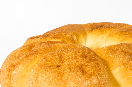 unleavened: unleavened wheat cake on white background, close up