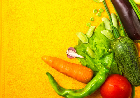 still life - tomato, carrot, onion, lettuce, cucumber, cilantro, eggplant, zucchini, garlic peas and peppers on a bright yellow background