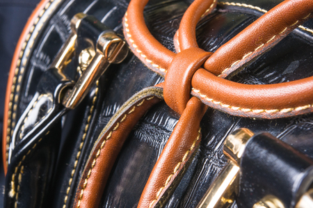 closeup of the fittings on the black leather hand bag Stock Photo