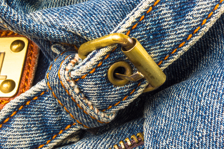 closeup of the fittings on the jeans hand bag Stock Photo