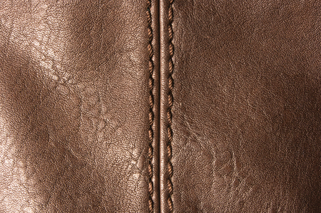 seams: closeup of the seams on brown leather hand bag Stock Photo