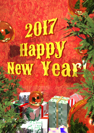 yelllow: postcard - Happy New Year 2017 with yelllow text, 3D rendering
