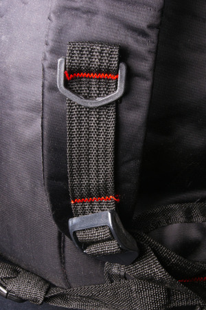 seams: closeup of the fittings and seams in the black backpack Stock Photo