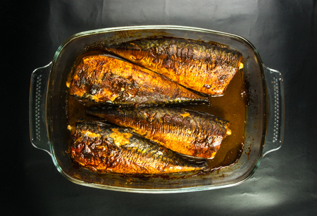 marinade: Mackerel in marinade, baked in a glass container