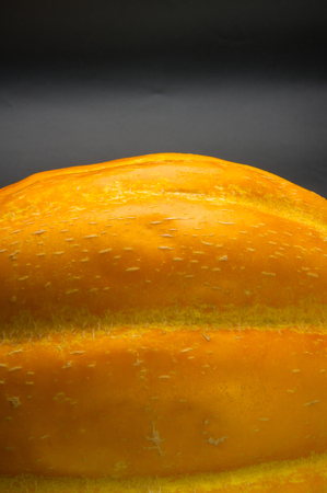 Cantaloupe: still life - ripe juicy Ethiopian melon on black background
