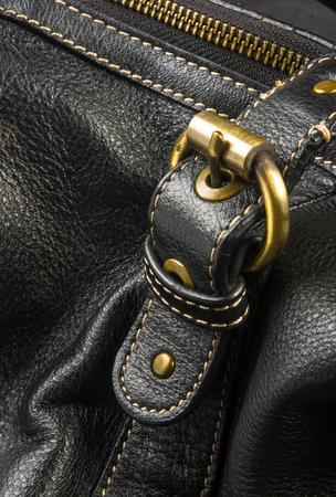 seams on leather hand bag Stock Photo