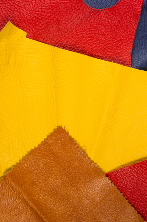 colored flaps, pieces, and scraps of natural leather for the manufactured furniture, bags and clothes Stock Photo
