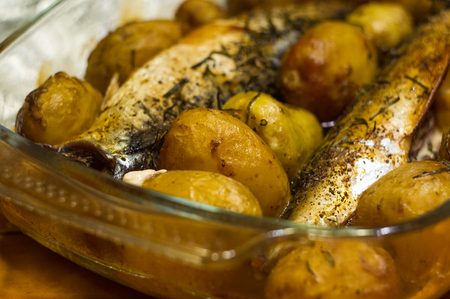 oily: mackerel with potatoes and tarragon baked in the oven