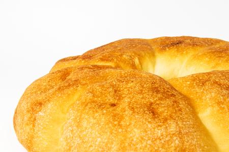 unleavened wheat cake on a white background