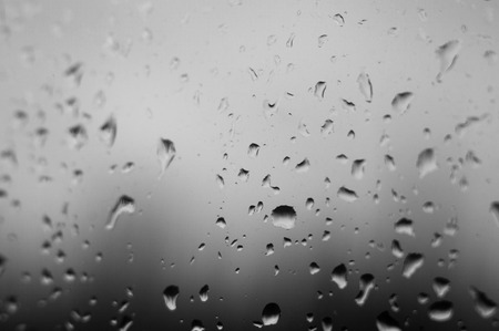 raindrops on the window glass, close up Stock Photo
