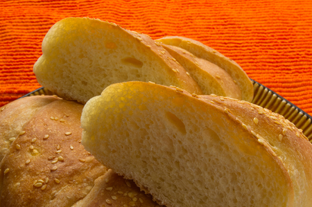 sliced whole wheat breads on a brown plate Stock Photo