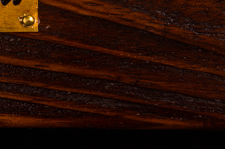 texture dark weathered teak wood with copper details, close up Stock Photo