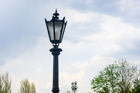 Classic style city lamppost at sunset, close-up Stok Fotoğraf