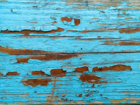 texture of old painted shabby rustic wooden fence made of planks, with rusty nails, close-up, grunge background