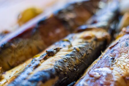 Mackerel baked in the oven, home dish, close up