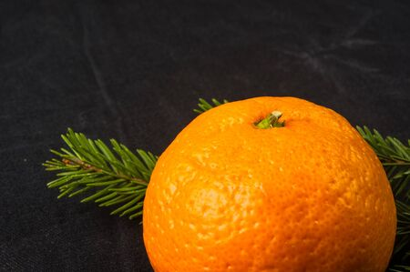 New Year Concept. Christmas decorations from fir-tree branches and the fruits of mandarin orange on black background Фото со стока
