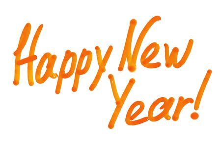 New Year Concept postcard. Handwritten congratulatory lettering brush watercolor paints