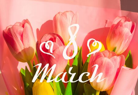 Greeting card - a bouquet of fresh spring pink and yellow tulips, holiday greetings, handwritten inscription with a brush 8 march, greeting lettering.