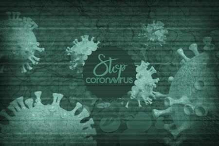 Background concept for news about the coronavirus COVID-19 pandemic. Microscope virus and lettering close up, 3d rendering.