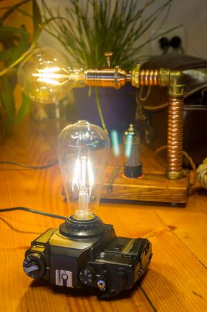 Light fixtures handmade in vintage style, retro film SLR camera case and wooden case, led lamps
