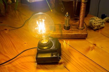 Light fixture handmade in vintage style, retro film SLR camera case, led lamp