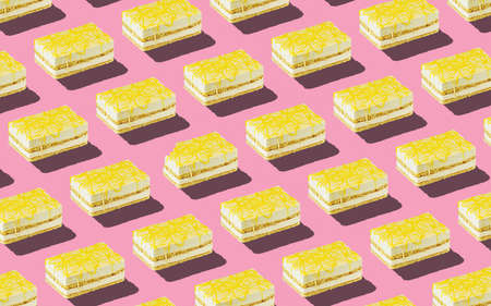 Trendy seamless food pattern - layered sponge cakes with harsh shadows on a pastel background, minimal food isometric concept texture.