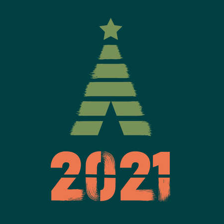 Happy New Year 2021 colored symbol and text in trendy flatten style design for seasonal holidays. Ilustração
