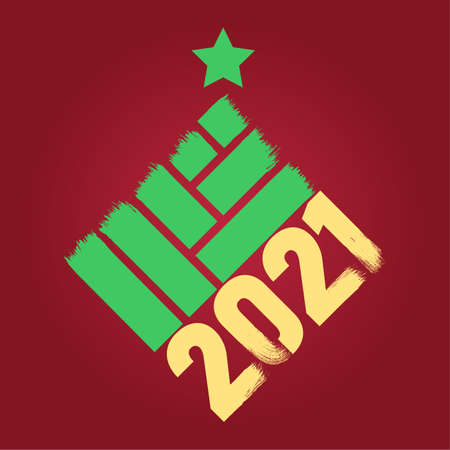 Happy New Year 2021 colored symbol and text in trendy flatten style design for seasonal holidays flyers, greetings and invitations cards and christmas themed congratulations and banners. Vector illustration