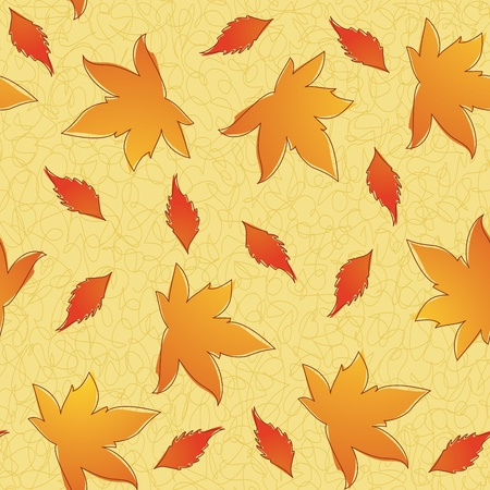 Thanksgiving seamless pattern of different leavs. Eps 8, CMYK with global colors illustration. Vector