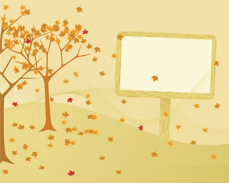 Autumn trees with leaves blowing in the wind. Stock Vector - 10414356