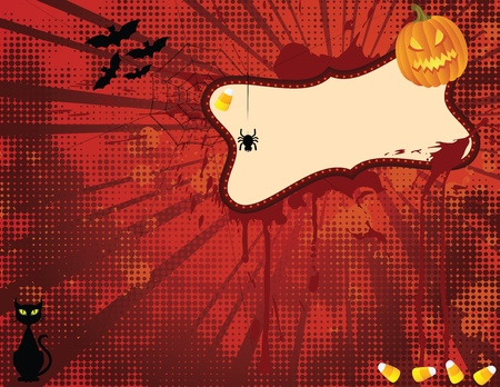 candy corn: Hallowen Grounge Spooky with empty Banner. EPS 8 CMYK vector illustration with Global colors. Illustration