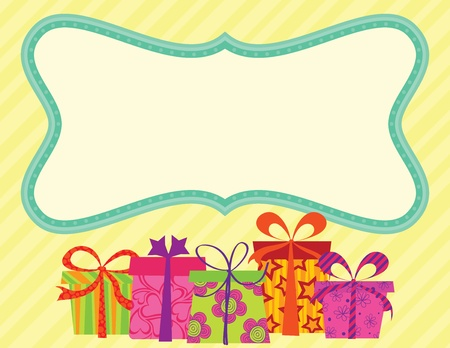 and invites: Birthday Card with gifts and banner. RGB EPS 8 with global colors vector illustration. Illustration