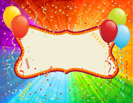 and invites: Birthday Card with balloons and confetti. RGB EPS 8 with global colors vector illustration. Illustration