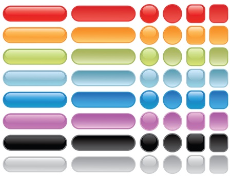prensado: Blank web buttons. Pressed and unpressed button state. EPS 8 CMYK with global colors vector illustration.