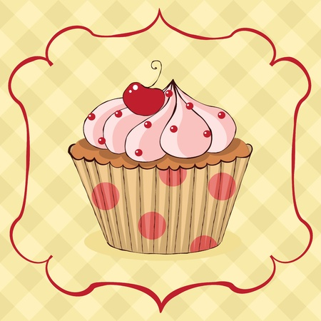Sketchy yummy cupcake card. EPS 8 CMYK with global colors vector illustration.  イラスト・ベクター素材