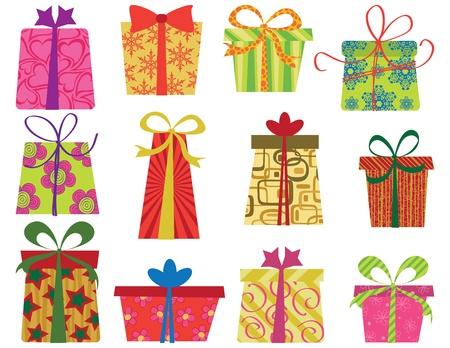 Twelve fun retro gifts set. EPS 8 CMYK with global colors vector illustration.  Illustration