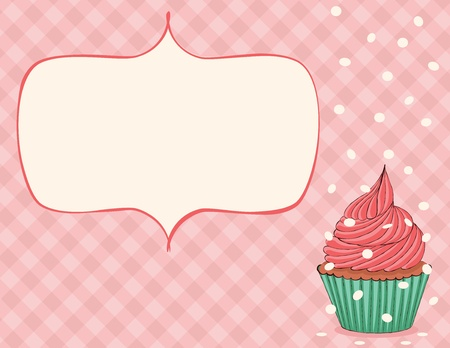 Pink celebration card with cupcake and confetti. EPS 8 CMYK with global colors vector illustration.