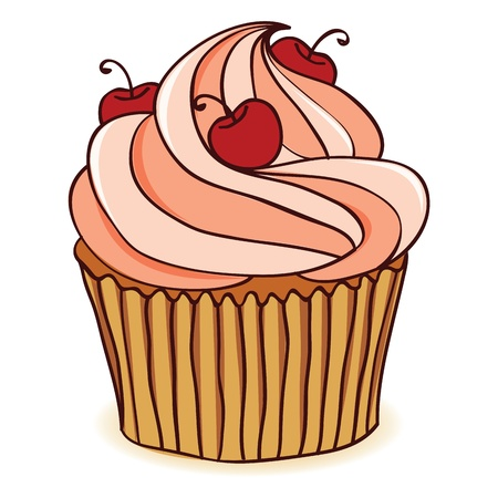 cupcake illustration: Hand drawn cupcake with cherries. EPS 8 CMYK with global colors vector illustration.