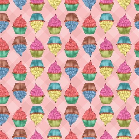 застекленный: Бесшовные шаблон, изготовленный из кексы. EPS 8, CMYK с глобальным векторные иллюстрации цветов