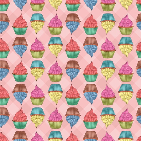 Seamless pattern made of cupcakes. Eps 8, CMYK with global colors vector illustration Vector