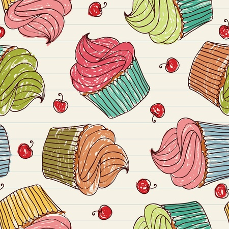 Seamless pattern made of cupcakes and cherries on a notebook. EPS 8 CMYK with global colors vector illustration.  Illustration