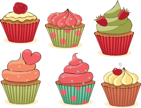 fairycake: Sketchy yummy cupcakes set. CMYK with global colors vector illustration.