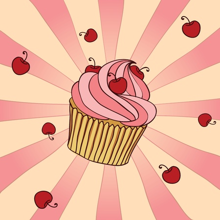 Hand drawn cupcake with cherries. EPS 8 CMYK with global colors vector illustration.  Vector