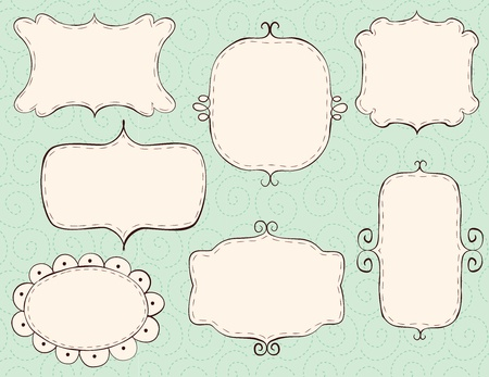 cute text box:  Hand drawn frames (bk is a seamless pattern). CMYK with global colors vector illustration.